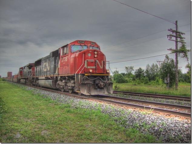 trains,CN,Canadian National, memory junction,CN 5738,VIA,Brighton Ontario